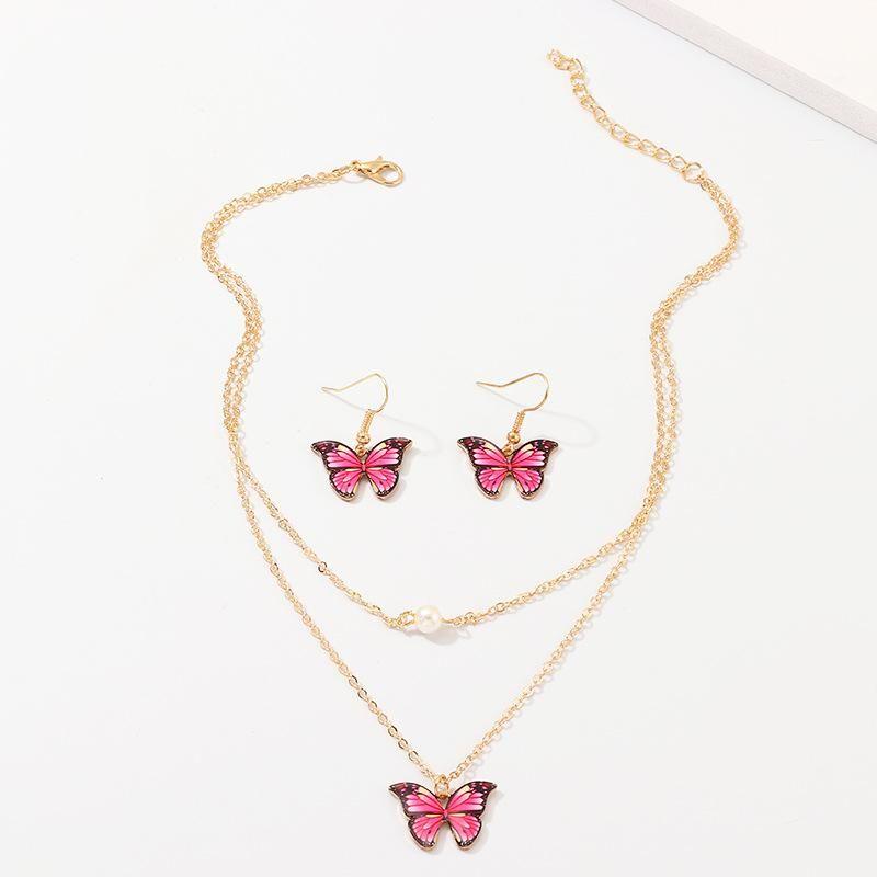 Conjunto de aretes de mariposa con collar de mariposa de colores realistas al por mayor de moda NHNZ181726