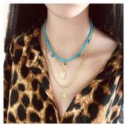 Chaîne de perles bohème multicouche pour femmes pentagramme pendentif collier de vacances femmes NHCT181575