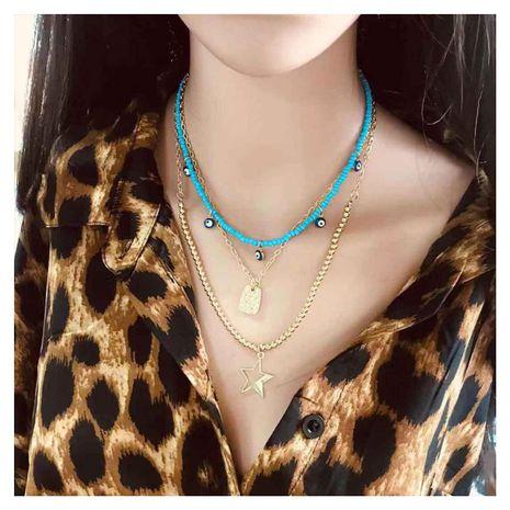 Chaîne de perles bohème multicouche pour femmes pentagramme pendentif collier de vacances femmes NHCT181575's discount tags