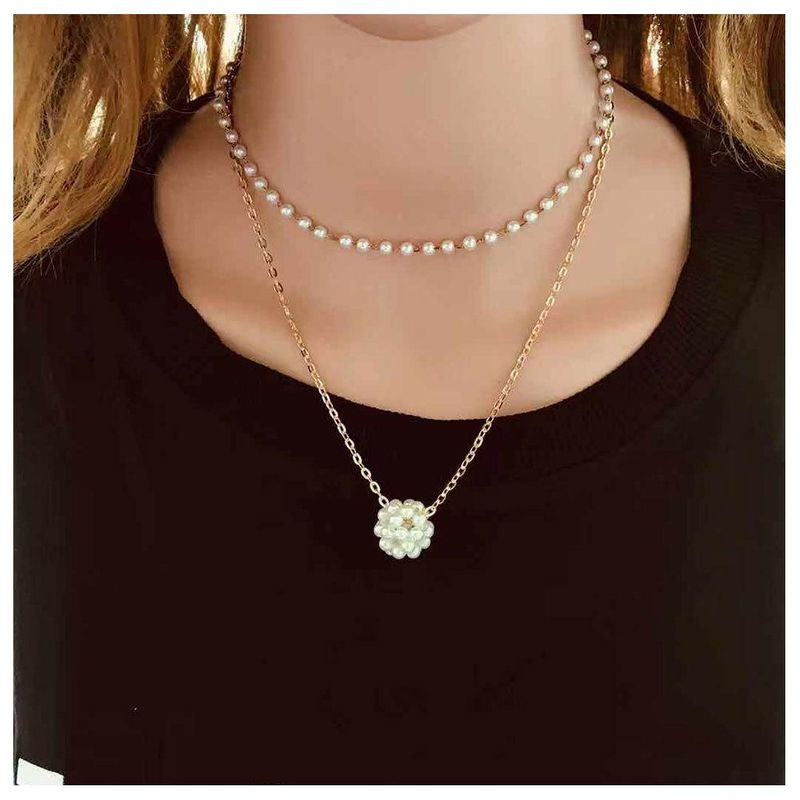 Simple double imitation pearl necklace choker collar personality jewelry short clavicle chain women NHCT181585
