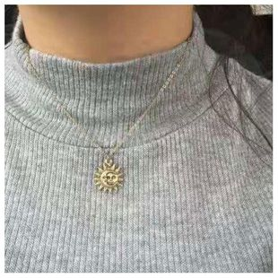 Sun flower pendant simple clavicle chain fashion popular necklace women wholesales fashion NHCT181592's discount tags