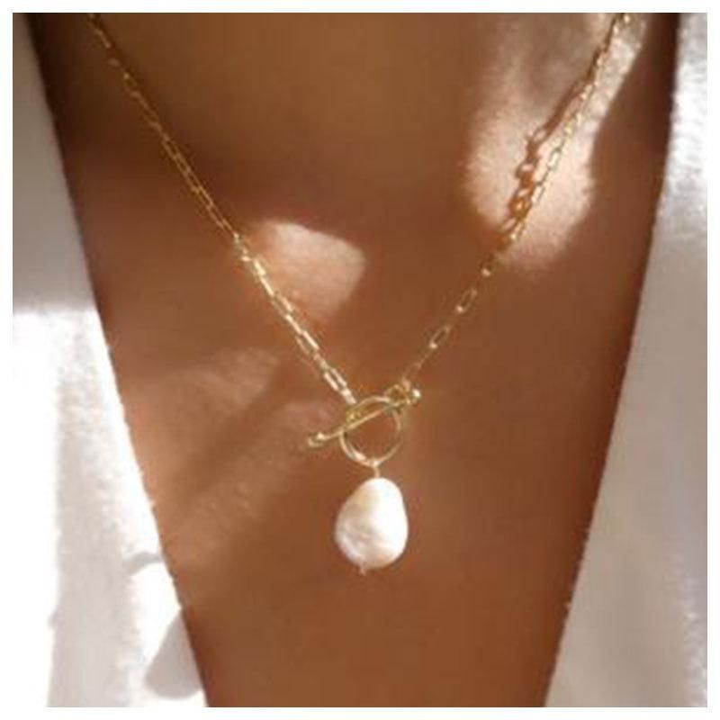 Jewelry simple and irregular pearl clavicle chain pendant wholesales fashion NHCT181595