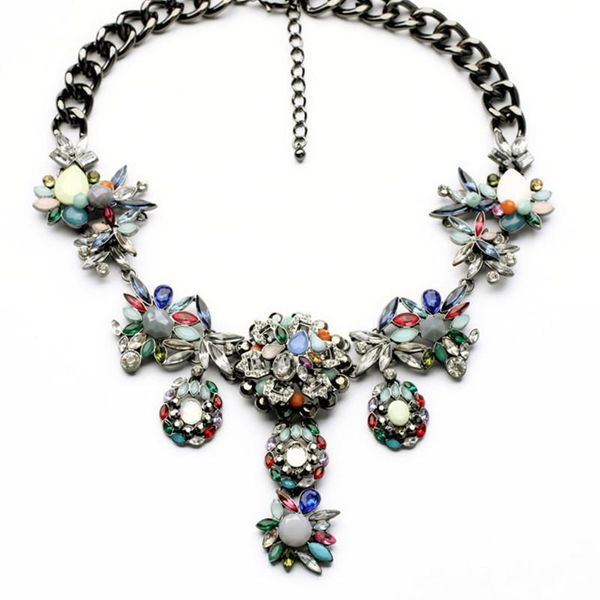 Fashion Items Wholesale Exaggerated Flowers Colorful Necklace Jewelry wholesales fashion NHQD181784