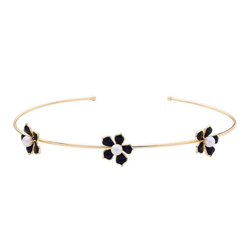 Enamel Drop Oil Cute Flower Pearl Collar women Opening Adjustable Necklace wholesales fashion NHQD181771