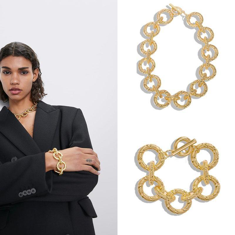 Alloy Bracelet Necklace Set Hip Hop Metal Jewelry Rock Bracelet Necklace Accessories Wholesale NHJQ181692