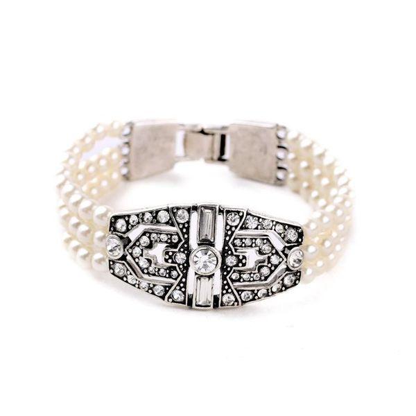 Explosion jewelry wholesale alloy diamond wild pearl ladies bracelet NHQD181770