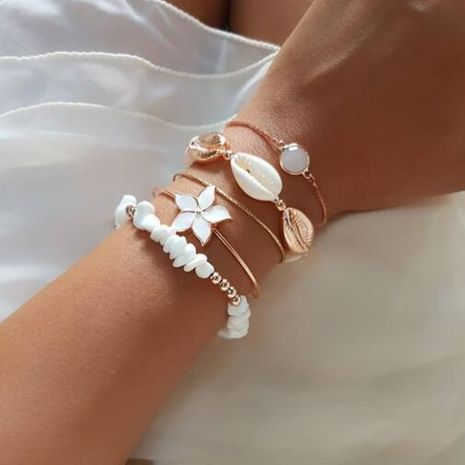 Ensemble de bracelets de coquillage de fleurs Ensemble de 5 bracelets en cristal de pierre naturelle NHGY181627's discount tags