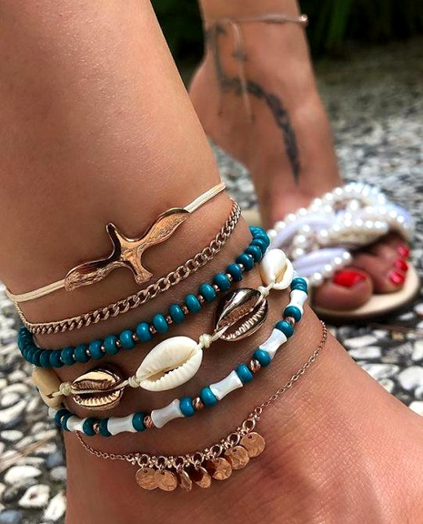 New bohemian vacation style rice beads shell fringed anklet 4-piece women NHGY181625's discount tags