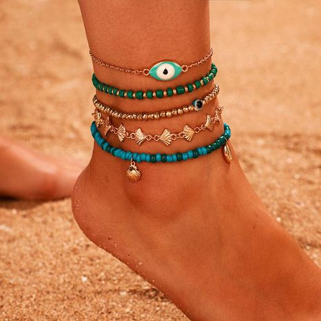 Green Bead Eye Shell Anklet Set Personality Scallop Anklet Set of 5 NHGY181650's discount tags
