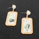 Simple Earrings Geometric Alloy Imitation Pearl Stud Earrings NHCT181570