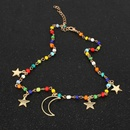Simple personality star colored rice beads moon pendant necklace women NHCT181589