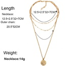 Personality metal disc portrait coin pendant multilayer clavicle chain women NHCT181593