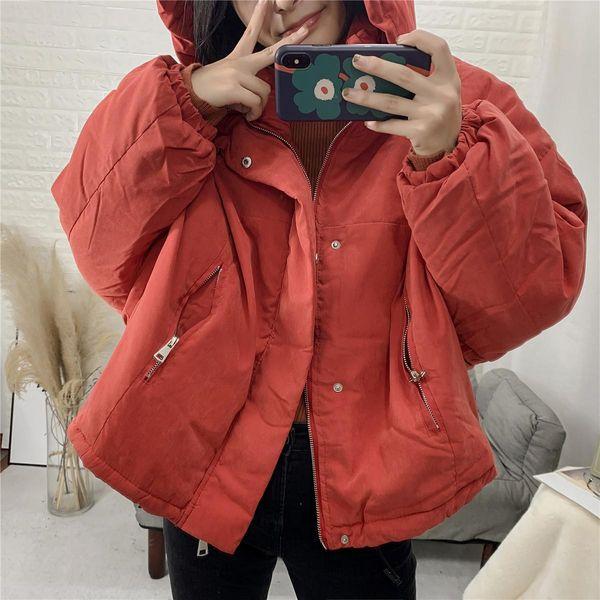 Wholesale 2019 autumn new fashion wild zipper hooded cotton coat NHAM182046