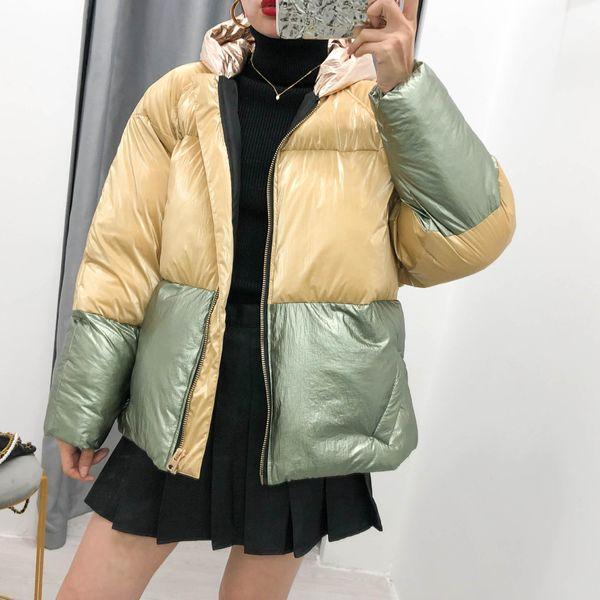 Wholesale 2019 Winter Women's New Heavy Metal Color Block Splicing Cotton Jacket Jacket NHAM182048