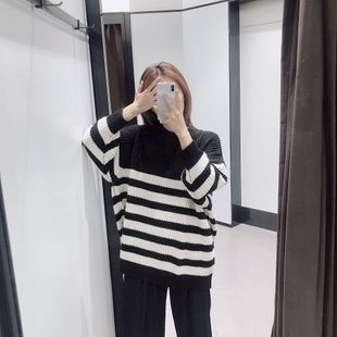 Wholesale 2019 striped loose sweater round neck sweater NHAM182020's discount tags