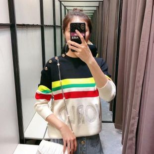 Wholesale 2019 Autumn Color Striped Women's Sweater Tops NHAM182024's discount tags
