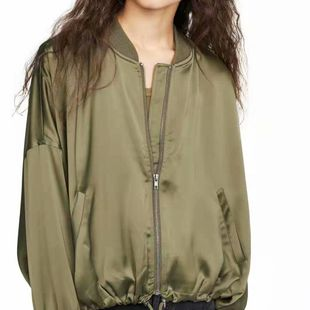 Wholesale Autumn Drawstring Elastic Hem Loose Jacket Slit Rib Collar Jacket NHAM182023's discount tags