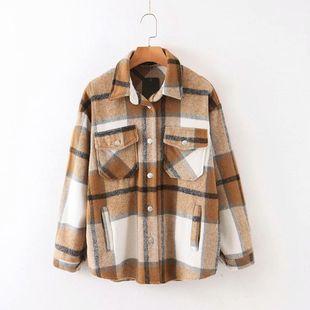 Wholesale 2019 Winter Plus Color Woolen Plaid Women's Loose Coat NHAM181976's discount tags