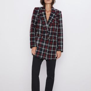 Wholesale 2019 New Women's Plaid Double-Breasted Blazer NHAM182019's discount tags