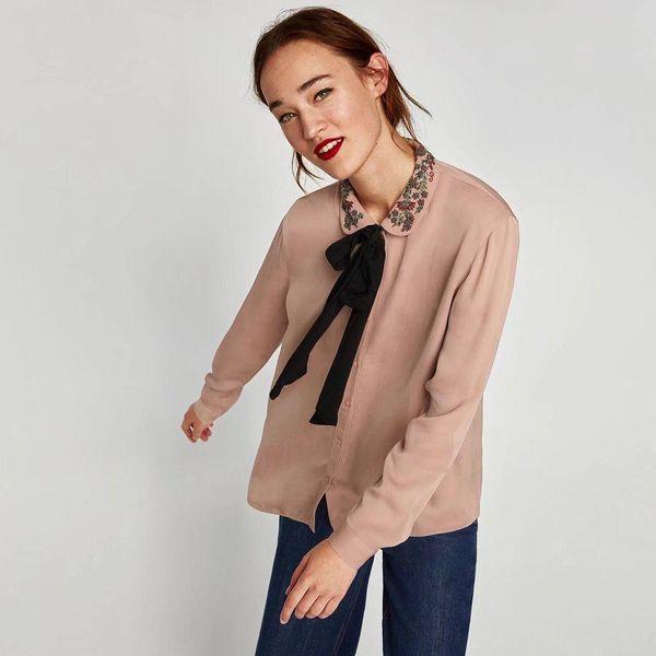 New Women's Chiffon Shirt with Embroidered Bow Neckline NHAM182014
