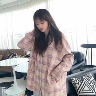 Wholesale 2019 Autumn Hong Kong Style Long Sleeve Plaid Shirt Jacket Loose Retro Hong Kong Flavored Shirt NHAM182018's discount tags