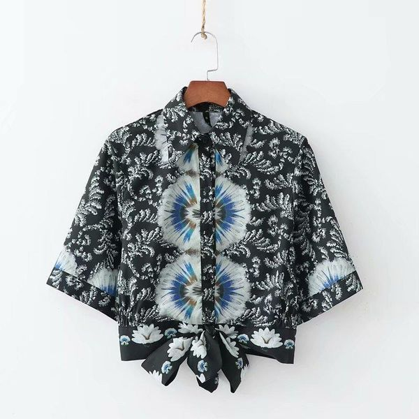 Wholesale 2019 positioning flower knotted shirt NHAM182033