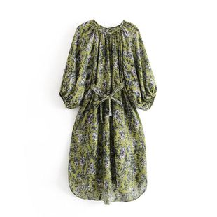 Wholesale 2019 Autumn and Winter Vacation Floral Lantern Sleeve Lace Up Dress A6-27291 NHAM181977's discount tags