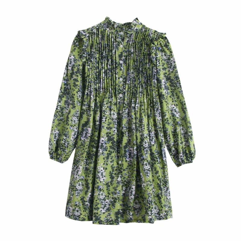 Europe and the United States wholesale 2019 autumn and winter pleated flying sleeve green floral dress A6-27290 NHAM181985