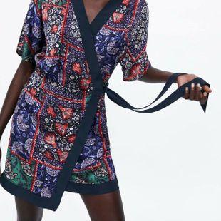 European and American wholesale 2019 summer bow decoration print dress N8-24150 NHAM181989's discount tags