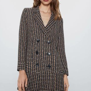 European and American Wholesale 2019 Winter Houndstooth Casual Blazer N8-28428 NHAM182026's discount tags