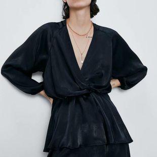 Wholesale 2019 Winter Laminated Mini Long Sleeve Dress NHAM182027's discount tags