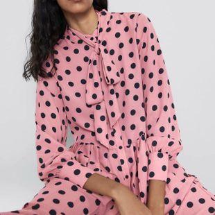 Wholesale 2019 Autumn Polka Dot Pleated Long Sleeve Dress NHAM182028's discount tags