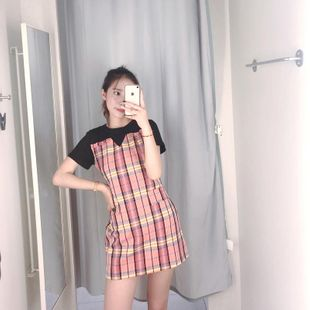 2019 waist lace-up color-matching dress short-sleeved T-shirt stitching fake two short skirts NHAM182037's discount tags