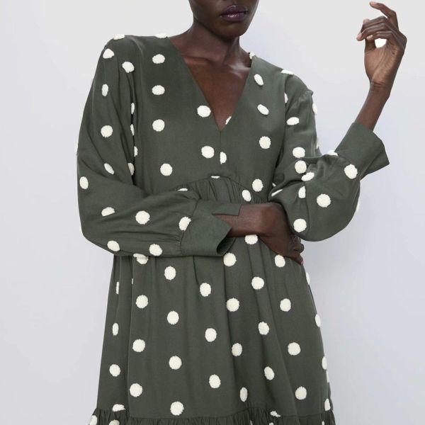 Wholesale 2019 Winter Polka Dot Long Sleeve Dress NHAM182036