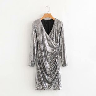Wholesale 2019 Winter Glitter V-neck Cross Long Sleeve Dress NHAM182068's discount tags