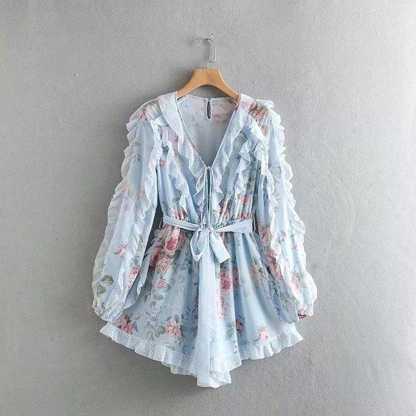 Niche wave dot ruffled printed jumpsuit wholesales fashion NHAM182003