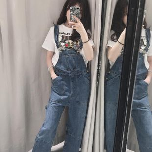 Wholesale 2019 Loose Wide Leg Decline Denim Bib Overalls NHAM182038's discount tags