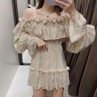 Wholesale 2019 Autumn Silk Metal Texture Off Shoulder Puff Sleeve High Waist Shorts Overalls NHAM182063's discount tags