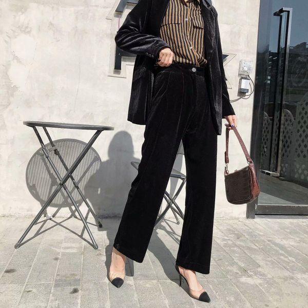 Wholesale 2019 winter velvet trousers women's suit pants casual pants NHAM182065