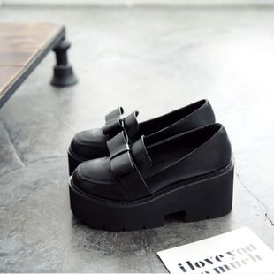 New bow-knit muffin platform shoes student high-heeled fashion casual shoes NHHU182134's discount tags