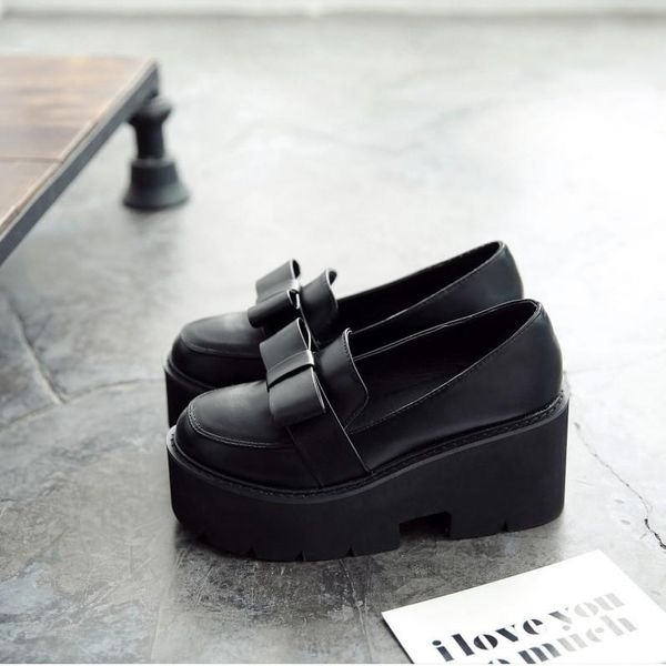 New bow-knit muffin platform shoes student high-heeled fashion casual shoes NHHU182134