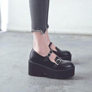 Thick bottom sponge cake Mary Jane shoes casual fashion student single shoes NHHU182135's discount tags