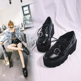 Punk style belt buckle lace up sponge cake thick bottom student women's single shoes NHHU182141's discount tags