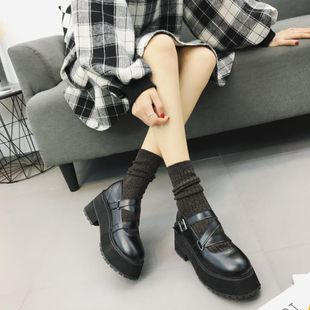 Thick-soled platform shoes round head wild simple shallow mouth buckle student soft sister shoes NHHU182142's discount tags