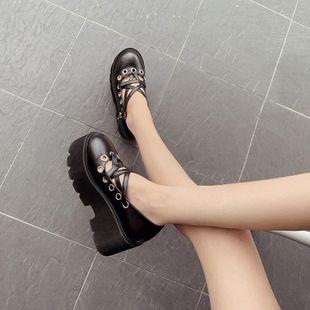 Cross strap platform pumps student retro single shoes NHHU182137's discount tags