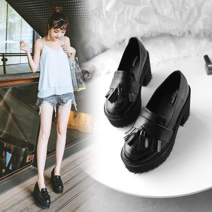 2020 spring new Korean version of high-heeled women's shoes with tassel decoration retro sponge cake platform NHHU182140's discount tags