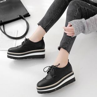 2019 autumn and winter slope with thick bottom muffin shoes square head lace up carved Brock single shoes women NHHU182147's discount tags