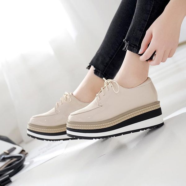 2019 autumn and winter new wedge heel platform shoes square square lace up patent leather casual single shoes women NHHU182148