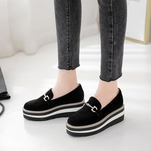 2019 autumn and winter slope with thick bottom muffin loafers square head metal buckle increase casual women's single shoes NHHU182146's discount tags