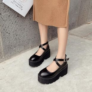 2020 spring new retro muffin thick bottom fashion cross belt single shoes NHHU182145's discount tags